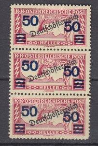 J29455, 1921 austria strip 3 mnh #qe7 ovpt,s