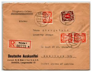 Danzig 1937 Registered Cover to Stamp Dealer - Z13887