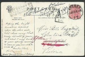 NEW SOUTH WALES 1907 postcard NOT KNOWN BY LETTER CARRIERS ELSTERNWICK.....59967