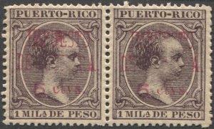 PUERTO RICO 1898 Sc MR12 Pair 5c/1m  Alphonso XIII MNH War Tax VF