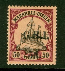 German Colonies NEW BRITAIN Marshall Is 1914 YACHT G.R.I. Surch 5d/50pf Sc#37 NH