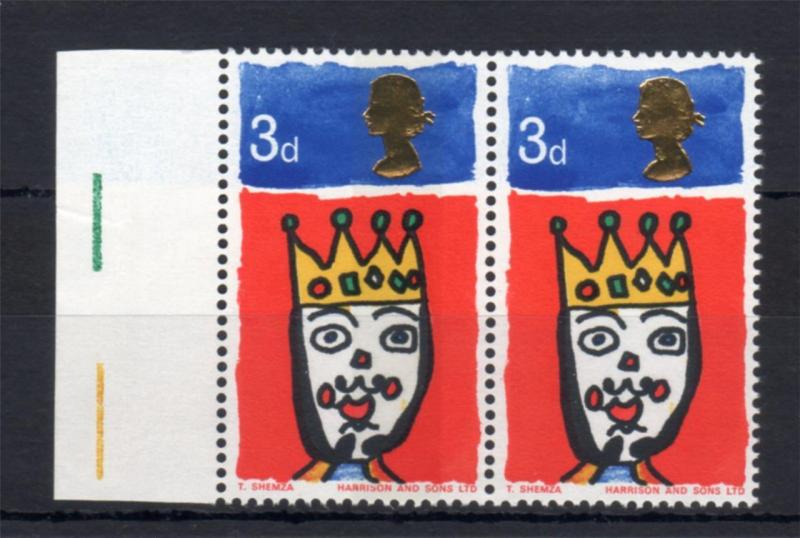 3d CHRISTMAS 1966 UNMOUNTED MINT PAIR WITH AND WITHOUT PHOSPHOR Cat £15