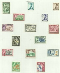 Fiji 1954 Set of 13 + 2, Sg 280-295 + 288A & 292A, Hinged to page, M/M {C/P-30}