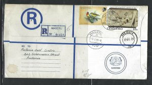 LESOTHO  (PP0310B) 1989 LONG   RLE+ 16S  BIRD+55S MASERU TO SOUTH AFRICA