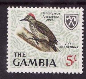 Gambia-Sc#225-unused NH 5sh Little Woodpecker-Birds-id4-1966-