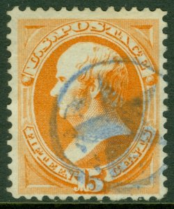 EDW1949SELL : USA 1873 Sc #163 Used Fresh stamp with Blue star cancel PSAG Cert.