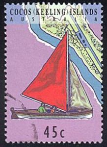Cocos Islands # 292a used ~ 45¢ Sail Boat with Red Sail
