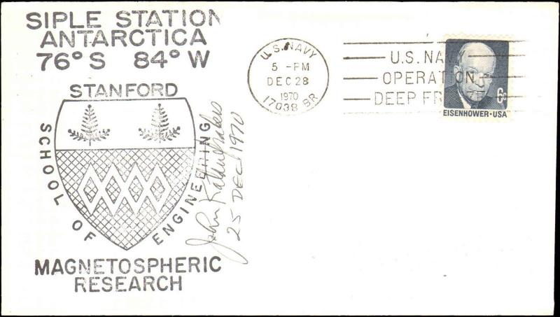 1970 US NAVY ANTARCTIC SIPLE STATION  STANFORD  MAGNETOSPHERIC CACHET + SIGNED