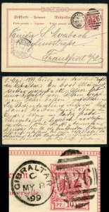 Gibraltar 1899 Germany 10pf reply card used to Frankfurt