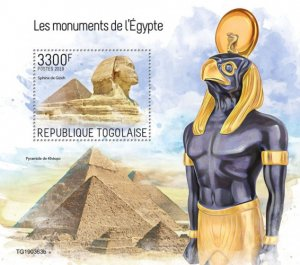 TOGO - 2019 - Monuments of Egypt - Perf Souv Sheet - MNH