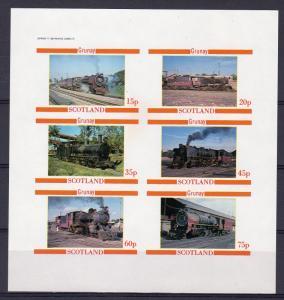 Grunay (Scotland) 1982 LOCOMOTIVES/TRAINS Sheetlet (6) IMPERFORATED MNH