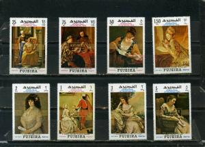 FUJEIRA 1968 PAINTINGS SET OF 8 STAMPS OVERPRINTED PERF. MNH