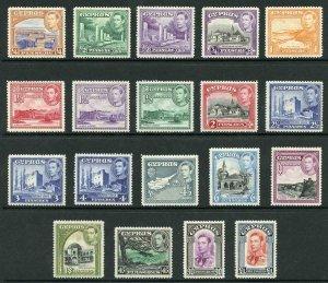 Cyprus SG151/63 1938-51 KGVI Wmk Mult Script CA Set of 19 M/M
