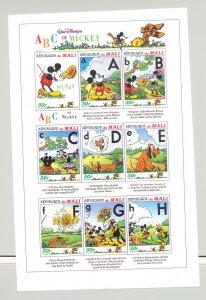 Mali #797-799 Disney, Mickey, ABCs 3v M/S of 9 Imperf Proofs