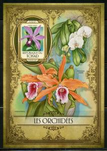 CHAD 2017  ORCHIDS   SOUVENIR SHEET  MINT NEVER HINGED