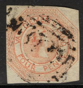 TASMANIA SG8 1853 4d ORANGE NO WMK USED