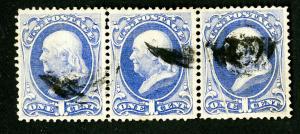 US Stamps # 134 XF striking strip of 3 Scott Value $1,000.00