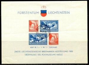 LIECHTENSTEIN Sc#B14 1936 Postal Museum Souvenir Sheet Cancelled with Faults