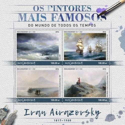 MOZAMBIQUE - 2016 - Painters. Ivan Aivazovsky - Perf 4v Sheet - MNH