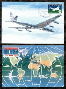 p699  - NETHERLANDS - 1959 Lot of (2) MAXI Postcards - Maximum - KLM Airlines