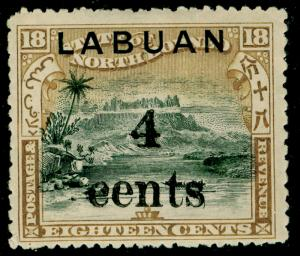 LABUAN SG133a, 4c on 18c black & olive-bistre, M MINT. Cat £42.