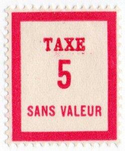 (I.B) France Cinderella : Postman's Training Stamp 5c (Postage Due)