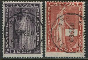 Belgium 1928 Semi-postal Orval Abby 2 and 3 francs used