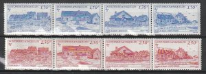 1991 St. Pierre and Miquelon - Sc 564a&568a - MNH VF - 2 strip of 4 -Scenic view