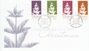 Norfolk Island 2004 FDC Sc #827-830 Set of 4 Stylized Christmas trees with So...