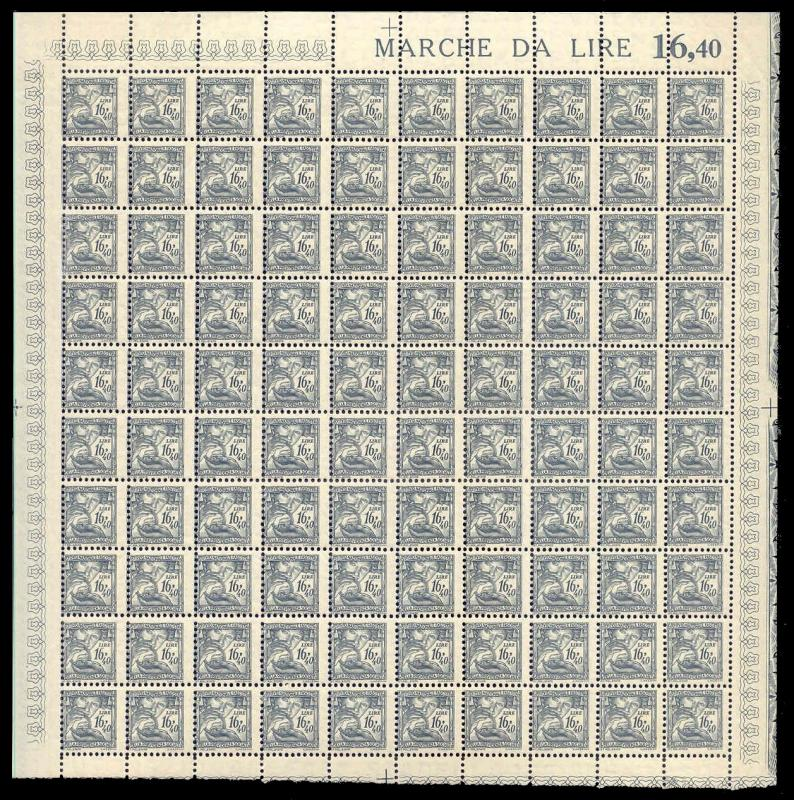Italy 1941 16.40 L Fascist Social Security Stamp Mint Sheet #145B