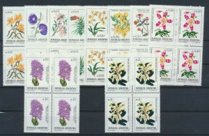 [I1886] Argentina 1985 flowers good set in bloc of 4 stamps very fine MNH