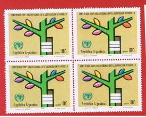 Argentina #1194  MNH OG block of 4 Tree  Free S/H