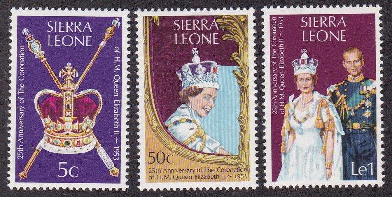 Sierra Leone MNH 444-6 Coronation QE II SCV 1.30