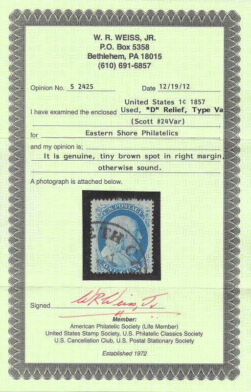 24 Used, 1c. Franklin Type Va, scv $300, Weiss Cert, Free Insured Shipping
