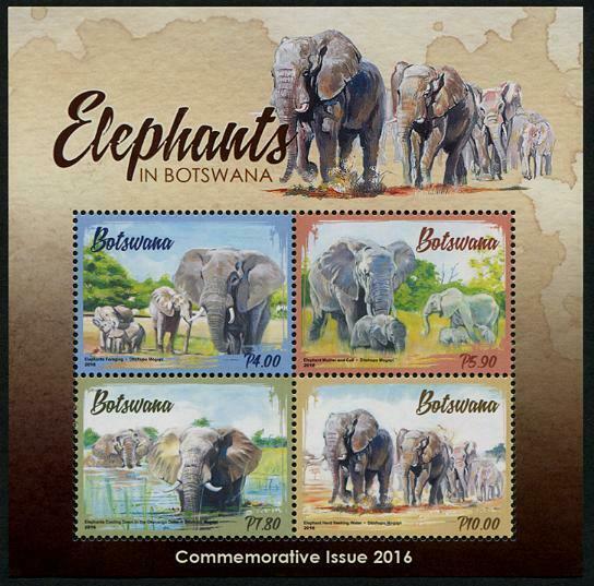 HERRICKSTAMP NEW ISSUES BOTSWANA Sc.# 995a Elephants Souvenir Sheet Mint NH
