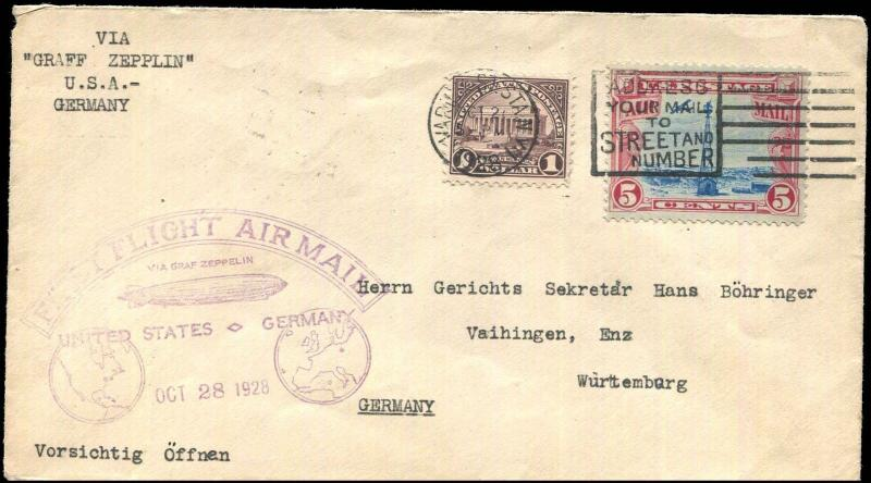 #571 & #C11 ON ZEPPELIN 1st FLIGHT USA TO GERMANY OCT 28,1928