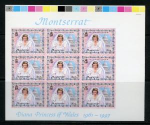 MONTSERRAT  PRINCESS DIANA ROYAL WEDDING IMPERFORATE SHEET OF NINE  $1.15 VALUE