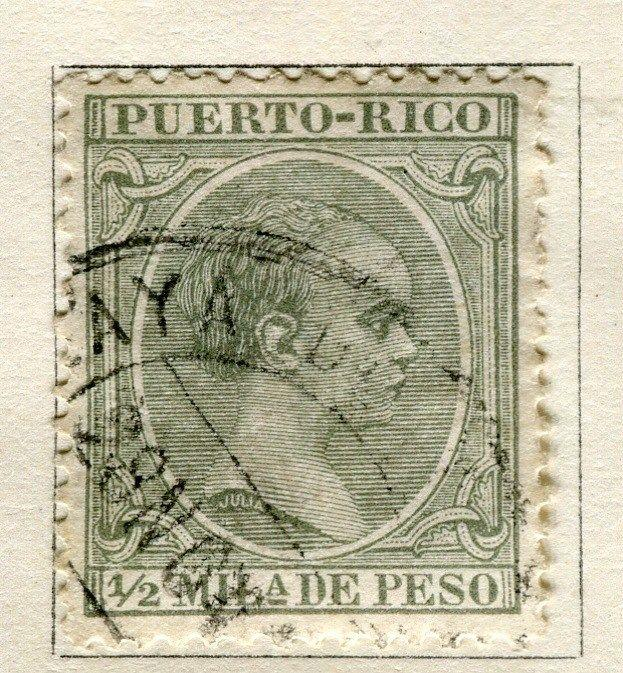 SPANISH PUERTO RICO;    1890s classic Baby King issue used 1/2m. value