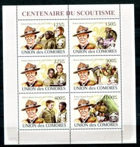 COMORO ISLANDS SCOUTING CENTENARY - BOY SCOUTS - GIRL SCOUTS MINT SET AND SS!