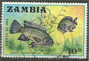 ZAMBIA , 1971, used 10n, Fish Scott 75