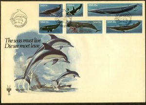 SOUTH WEST AFRICA Sc#437-442 1980 Whales Complete Set on Beautiful Cacheted FDC