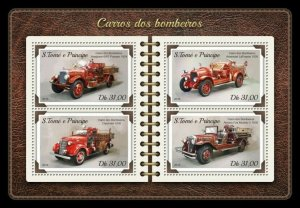 HERRICKSTAMP NEW ISSUES ST. THOMAS Fire Engines Sheetlet