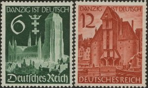 Stamp Germany Mi 714-5 Sc 492-3 1939 WWII Danzig Crane Gate Church Poland MNG