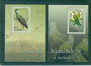 Lesotho - Sc# 1405-6. 2007 Birds. MNH Souv. Sheets. $10.00.