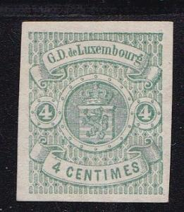 Luxembourg 1874 4c green Coat Of Arms Scott Nr 27. Imperf Mint Stamp FINE/VF/(*)