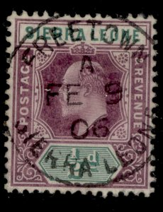 SIERRA LEONE EDVII SG86, ½d dull purple and green, VERY FINE USED. CDS