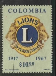 Colombia Scott 770 Used  1967 Lions $10 stamp