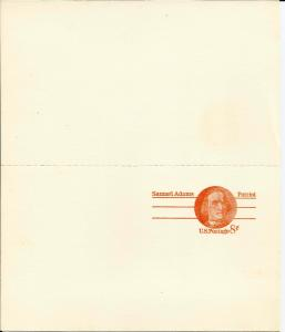 US 1973 Samuel Adams Post Card Scott# UX66 pair