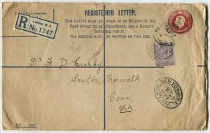 GREAT BRITAIN to USA Registered Letter Stamps Postage Cover 1927