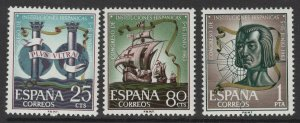 SPAIN SG1574/6 1963 SPANISH CULTURAL INSTITUTIONS CONGRESS MNH